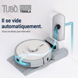 Robot aspirateur laveur Robò Tubo Aertecnica TR900LA avec station Plug and Play est le seul robot aspirateur avec vidange automatique gérée par un système d'aspiration centralisée