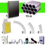 Kit 1 prise RETRAFLEX noire avec 15m de tuyaux pvc (pour flexibles de 9m et 12m non fournis)