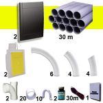Kit 2 prises RETRAFLEX noires avec tuyaux pour flexible de 9m et 12m
