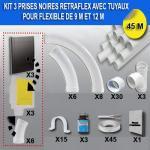 Kit 3 prises RETRAFLEX noires avec tuyaux pour flexible de 9m et 12m