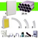 Kit 1 prise RETRAFLEX blanche avec 25m de tuyaux pvc (pour flexibles de 15m et 18m non fournis)