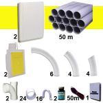 Kit 2 prises RETRAFLEX blanches avec tuyaux pour flexible de 15m et 18m