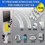Kit 3 prises RETRAFLEX noires avec tuyaux pour flexible de 15m et 18m