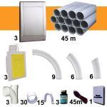 Kit 3 prises RETRAFLEX gris inox avec tuyaux pvc (pour flexibles de 9m et 12m non fournis)