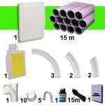 Kit 1 prise RETRAFLEX blanche avec 15m de tuyaux pvc (pour flexibles de 9m et 12m non fournis)